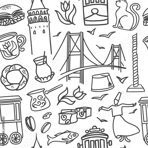 In de dag Art Studio Seamless pattern Istanbul symbols. Vector illustration with hand drawn black doodle outline on white background. Modern clear line design for touristic print, backdrop, wrapping paper or wallpaper.