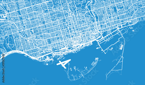 Urban vector city map of Toronto, Canada Wallpaper Mural