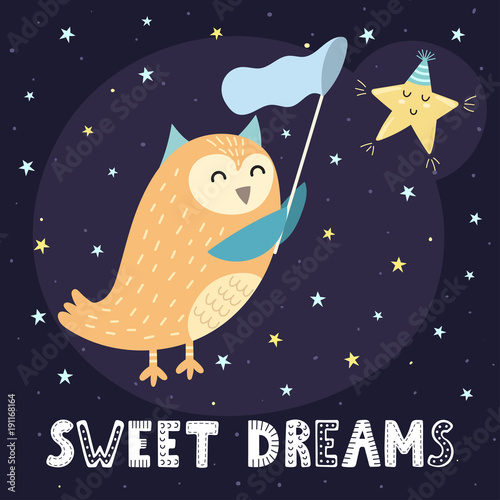 Sweet Dreams Card With A Cute Owl Catching A Star. Good Night Background.  Vector