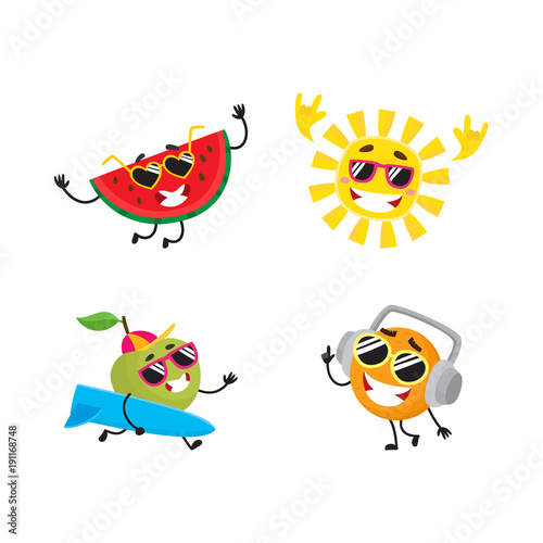 328063590bcc4 Vector cartoon summer fruit characters in sun glasses icon set. Orange in  headphones