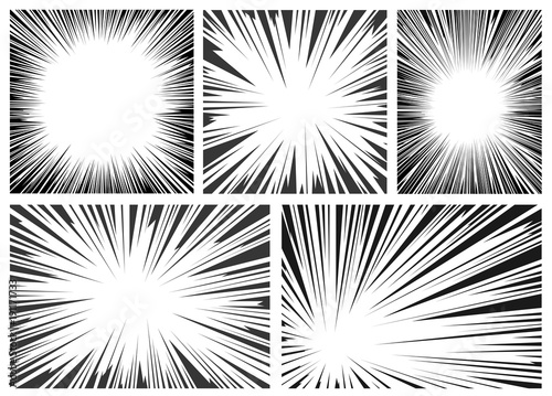 Photo Set of black and white, gray radial lines comics style background