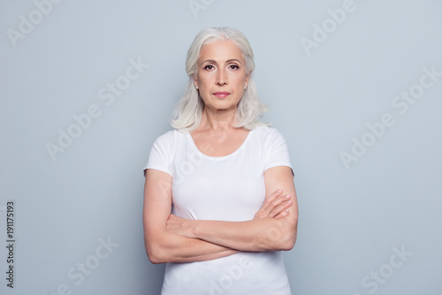 Fotografiet  Portrait  of nice, charming, aged, perfect, nice, pretty, concentrated, woman wi