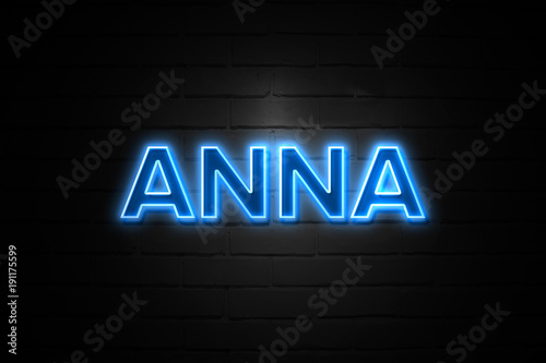 Anna neon Sign on brickwall Poster