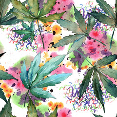 FototapetaCannabis leaves pattern in a watercolor style. Aquarelle wild leaf for background, texture, wrapper pattern, frame or border.