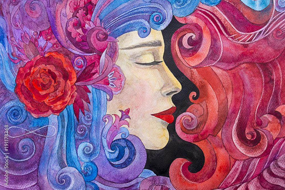 dipinto acquerello donna
