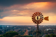 Vintage Windmill At Sunset In South Australia