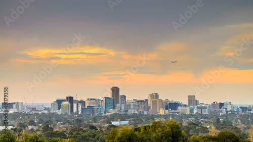 Adelaide city skyline view at sunset Wallpaper Mural