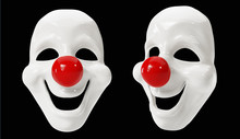 Clown Masks Isolated On Black ...