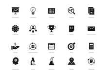 Set Of Black Solid Business Icons Isolated On Light Background. Contains Such Icons Planning, Awards, Concept, Education And More.