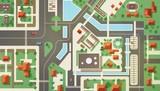 Widok z góry, z lotu ptaka lub lotu ptaka lub plan nowoczesnego miasta z budynkami handlowymi i mieszkalnymi, konstrukcjami, drogami, ulicami, rzeką, kanałami i mostami. Piękny krajobraz miejski. Ilustracja wektorowa płaski.