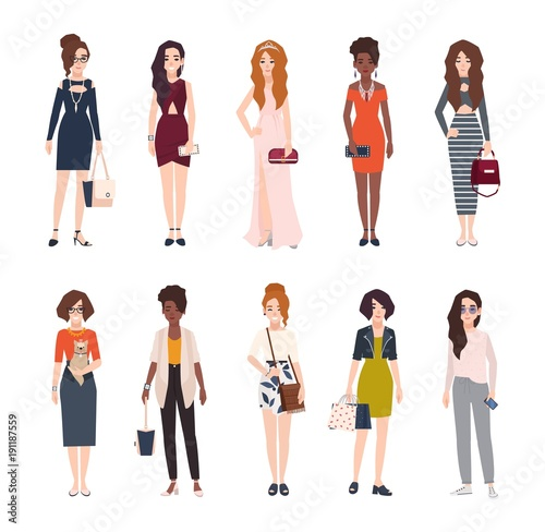 Bundle of beautiful young women dressed in trendy clothes. Set of pretty girls wearing stylish clothing and accessories. Female cartoon characters isolated on white background. Vector illustration. Wall mural
