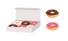 Donuts Glazed With Colorful Su...