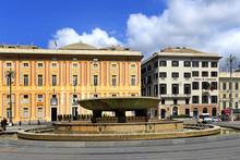 Genoa, Liguria / Italy - 2012/07/06: Waterworks On The Piazza De Ferrari Square