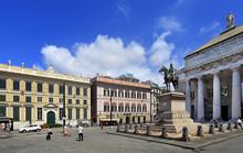 Genoa, Liguria / Italy - 2012/07/06: Piazza De Ferrari Square - Giuseppe Garibaldi Monument And Teatro Carlo Felice Theater