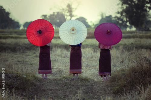 Poster Kaki Colorful umbrellas Chiang Mai Thailand Back side portrait this the Asian Culture.