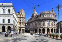 Genoa, Liguria / Italy - 2012/07/06: Genoa City Center - Piazza De Ferrari Square