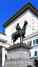 Genoa, Liguria / Italy - 2012/07/06: Genoa City Center - Piazza De Ferrari Square - Giuseppe Garibaldi Monument And Teatro Carlo Felice Theater