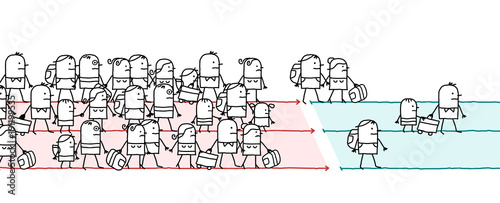Cartoon Migrating People Canvas-taulu