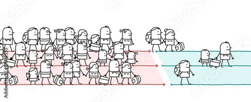 Valokuva Cartoon Migrating People