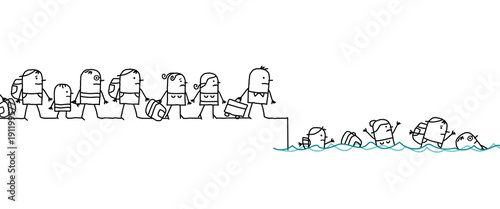 Vászonkép Cartoon Migrating People