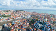 Panoramic view of Lisbon,Portugal town center form the of the many viewpoints parks.Architecture and culture in Europe.Tourist attraction.Beautiful view form the miradouro to the river and the bridge