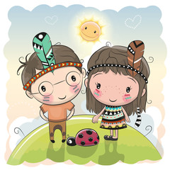 Fototapeta Cute Cartoon tribal girl and boy with feather