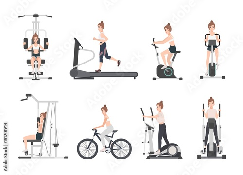 Foto op Plexiglas Fitness Young woman dressed in fitness apparel doing sports training on exercise machines at gym. Female cartoon character during power and weight loss workout. Front and side views. Flat vector illustration.