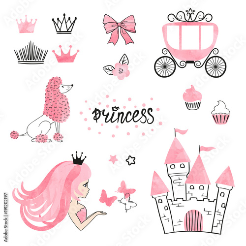 Fotografie, Obraz  Set of Princess world design elements isolated on white