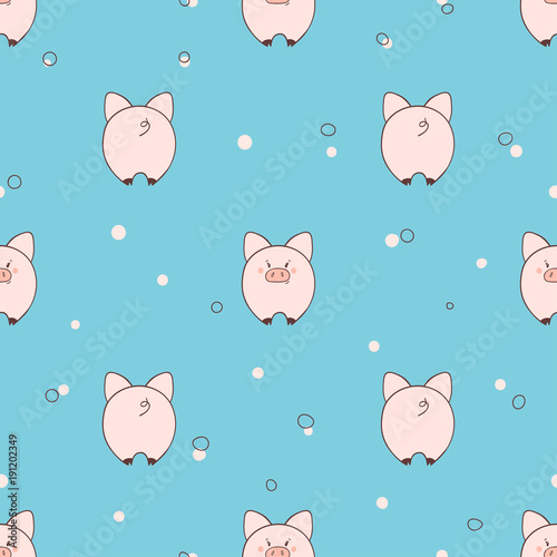 Seamless pattern with cute little pigs on blue background Canvas Print