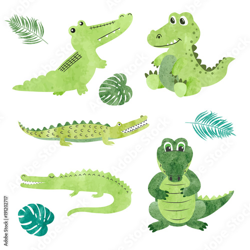 Photo Set of watercolor cartoon crocodiles
