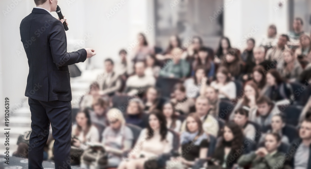 Fototapeta successful businessman holds business conference for the press
