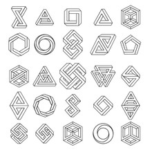 Graphic Impossible Shapes. Circle, Square And Triangle Symbols With Escher Paradox Impossible Geometry Geometric Graphic, Vector Illustration