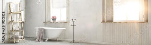 Foto-Tapete - Shabby chic bathroom with sun flare 3d rendering (von Fabian)