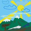Mountain vector illustration landscape.