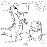 Fototapeta Dinusie - Funny cartoon dinosaur and his nest with little dino. Black and white vector illustration for coloring book