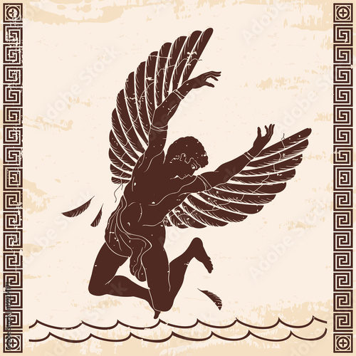 The hero of the ancient Greek myth Icarus with wings falls into the ocean Fototapet