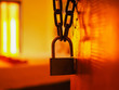 closeup of an open door lock in retro style with a cozy asien red light bedroom in the background