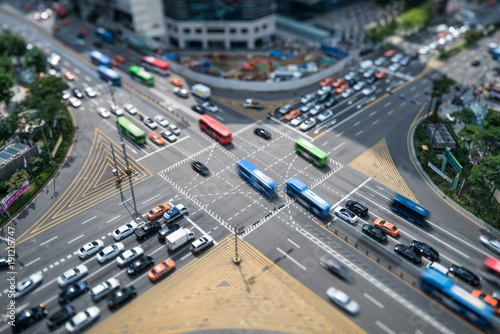 Fotobehang Aziatische Plekken Busy crossroad in Gangnam, Seoul, South Korea