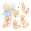 Cute, beautiful unicorn set collection. Princess girl unicorn with crown, floral, flower wreaths, bouqets, tied bows and balloons
