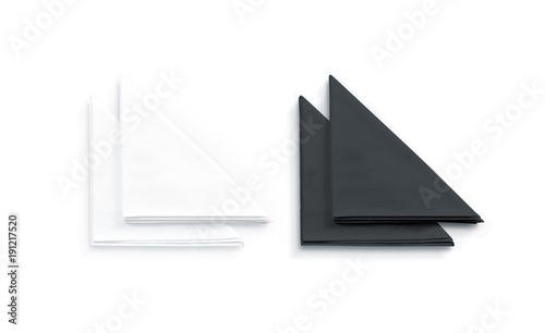 Fotografie, Obraz  Blank black and white restaurant napkin mock up, isolated