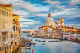 Canal Grande with Basilica di Santa Maria della Salute at sunset with retro vintage effect, Venice, Italy