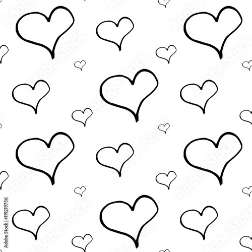 Abstract Heart Pattern With Hand Drawn Hearts Cute Vector Black And