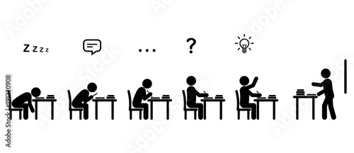 variety of students u0026 39  behaviors sitting at desks in a