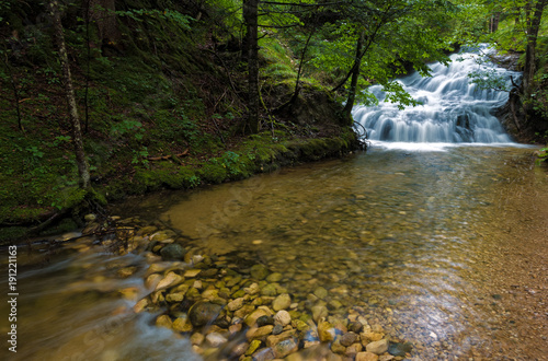 Canvas Print Lainbach creek and small waterfall, Germany