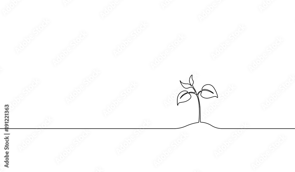Fototapety, obrazy: Single continuous line art growing sprout. Plant leaves seed grow soil seedling eco natural farm concept design one sketch outline drawing vector illustration