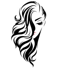 Women Long Hair Style Icon, Logo Women On White Background