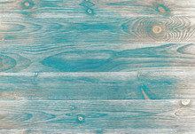 Flat Wood Background With Teal Sanded Paint Over Wood Grain And Knots. Neutral Brown And Gray Background.