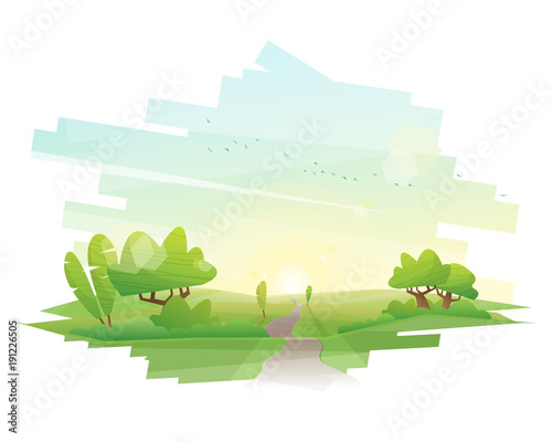 Beautiful landscape background , vector , illustration
