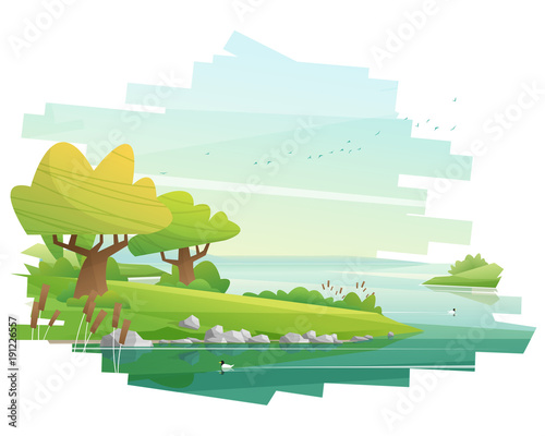 Fotomural Beautiful landscape background , vector , illustration