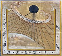 Medieval Sundial On The Wall Of Cesky Krumlov